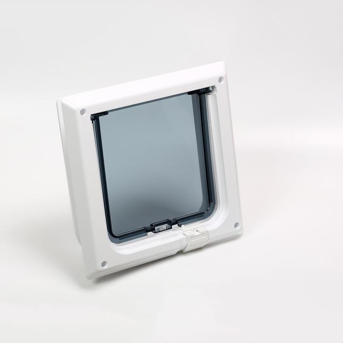 Дверца для животных «БАРСИК», проём 145*145 мм, толщина двери 36-42 мм, белый