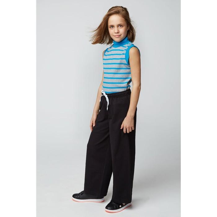 Водолазка для девочки, рост 128 (68) см, цвет серый меланж/голубой