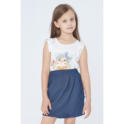 """Юбка для девочки """"Японский журавль"""", рост 116 см (60), цвет тёмно-синий"""