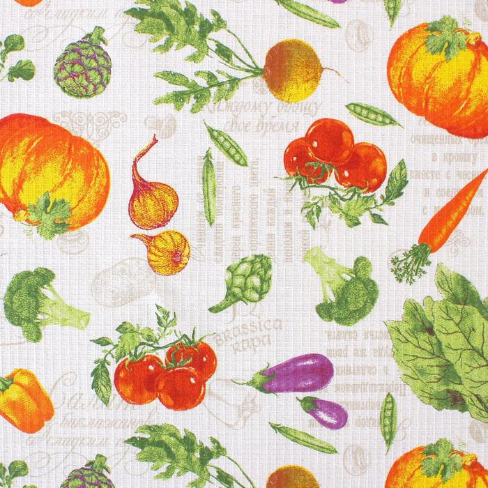 """Скатерть """"Доляна""""  Овощи 145х144 см, 100% хлопок,вафельное полотно, 162 г/м2"""