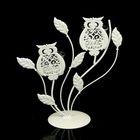 """Подсвечник металл 2 свечи """"Ажурные совы"""" белый 25,5х20,5х10 см"""