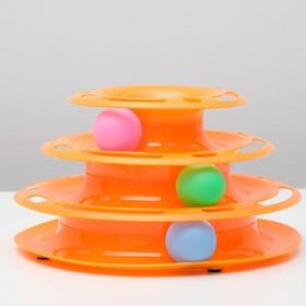 Игровой комплекс для кошек с 3 шариками, 24,5 х 24,5 х 13 см, микс, (без картонной коробки)