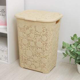 Корзина для белья с крышкой «Ажурная», 50 л, 35×43×56 см, цвет МИКС