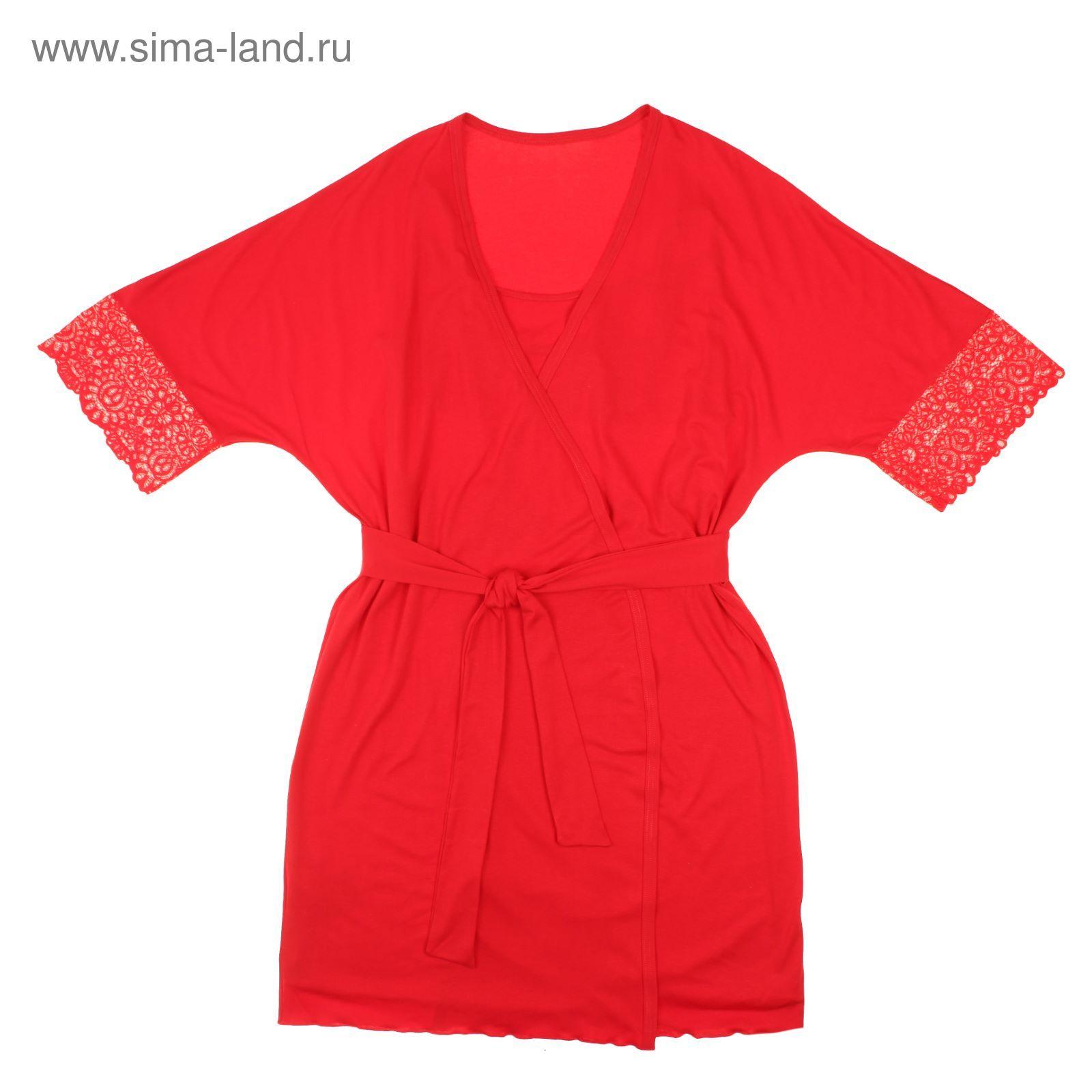 30fffe776 Комплект женский (сорочка, халат) 027К цвет красный, р-р 52 вискоза ...