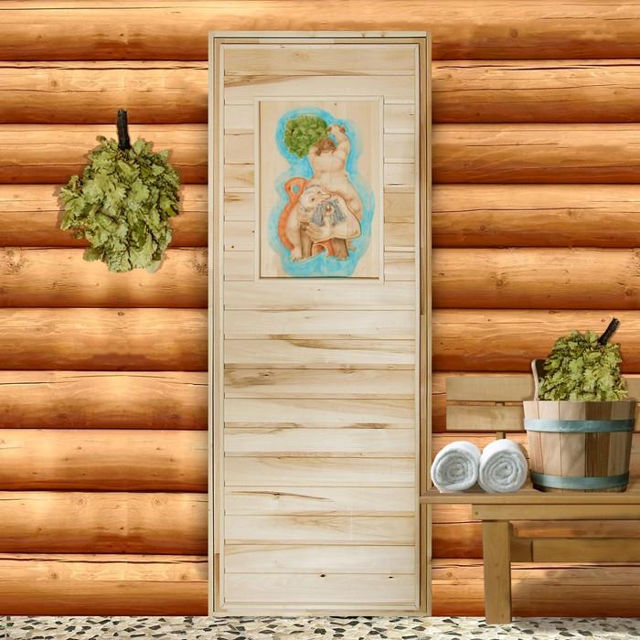 Дверь для бани, 180×70см, с резным панно