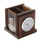 Набор настольный: часы, подставка для ручек, 2 фоторамки