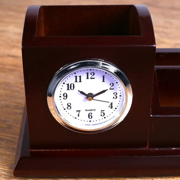 Набор настольный «Красное дерево»: часы, визитницы, подставка для ручек