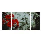 """Модульная картина на стекле """"Красные цветы"""", 2 — 25×50, 1 — 50×50, 100×50 см"""