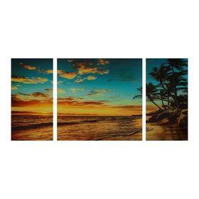 "Модульная картина на стекле ""Закат на пляже"""