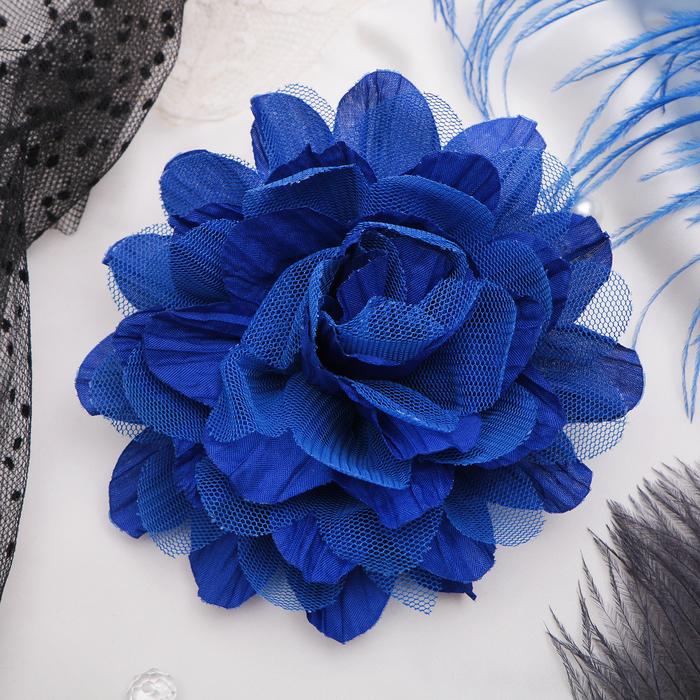 """Брошь """"Цветок дива"""", цвет синий"""