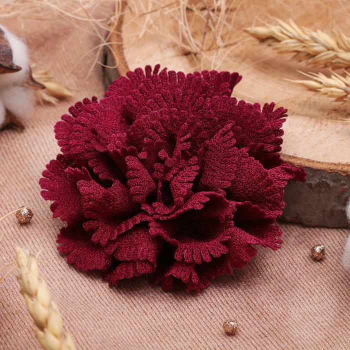 "Брошь ""Цветок дива"" малая, цвет бордовый"