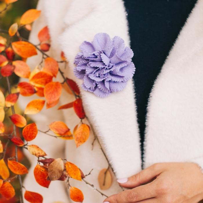 """Брошь """"Цветок дива"""" малая, цвет сиреневый"""