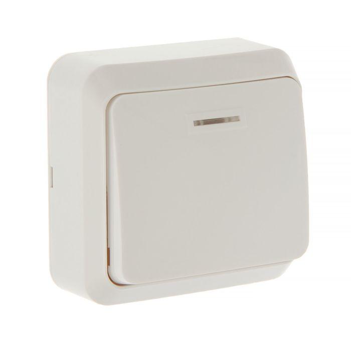 """Выключатель Smartbuy """"Юпитер"""", 10 А, 1 клавиша, накладной, с индикатором, белый"""