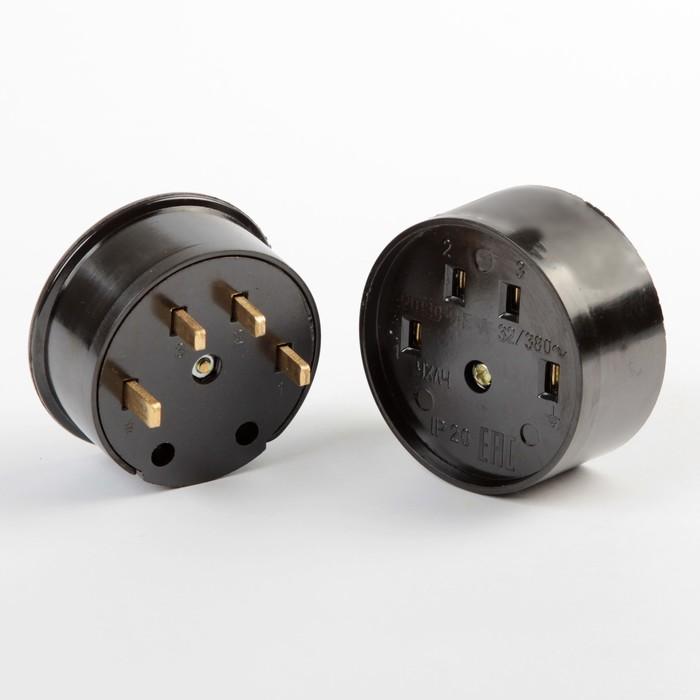 Разъем для плиты Smartbuy РШ-ВШ, 3P+PE, ОУ, 32 А, 380 В, карболит, черный