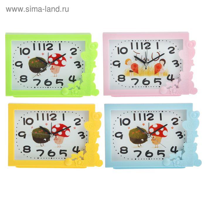 Будильник прямоугольник, арабские цифры, Мишка и сердечки, микс 13х18,5см