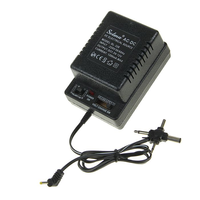 Блок питания LCC-49 YE-328, 1 А, 6 режимов 1.5-12V, переключатель полярности, провод 65 см