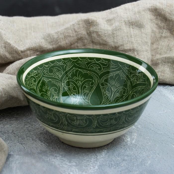 Коса малая, риштанская роспись, 15.5 см, зелёная