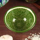 Пиала большая, риштанская роспись, 11.5 см, зелёная