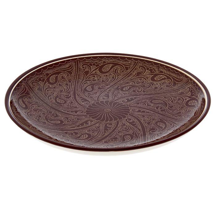 Ляган круглый, 31 см, риштанские узоры, коричневый