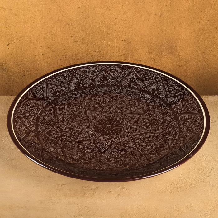 Ляган в форме листка, 41 см, риштанская роспись, коричневый