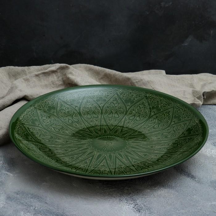 Ляган в форме листка, 41 см, риштанская роспись, зелёный