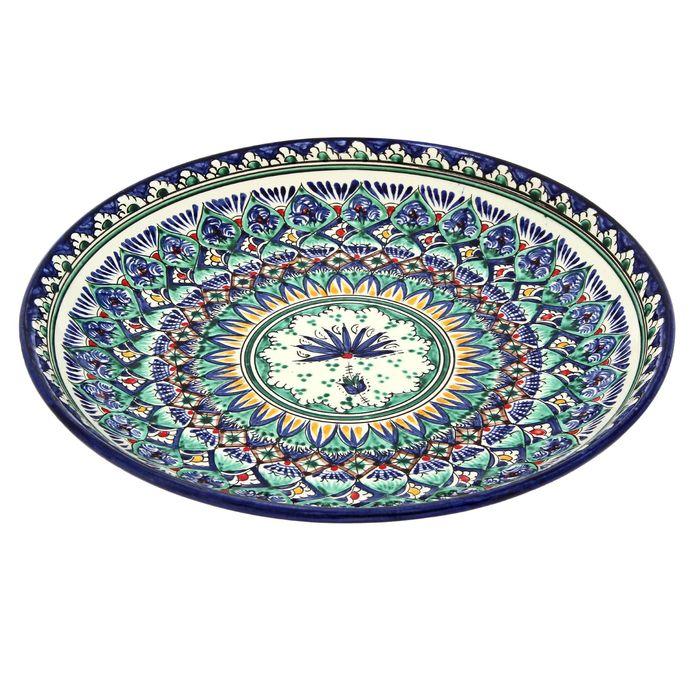 Ляган круглый «Риштан», 28 см, сине-зелёный орнамент