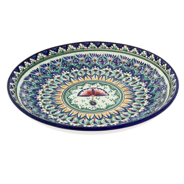 Ляган круглый «Риштан», 28 см, цветок в центре, сине-зелёный орнамент