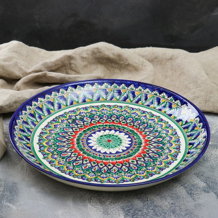 Ляган круглый «Риштан», 36 см, зелёно-синий орнамент