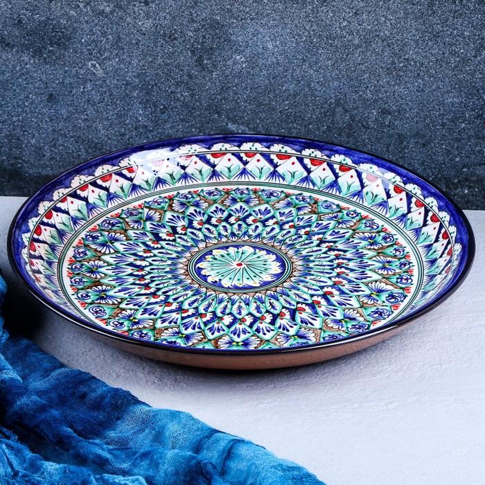 Ляган круглый «Риштан», 36 см, узор сине-зелёный