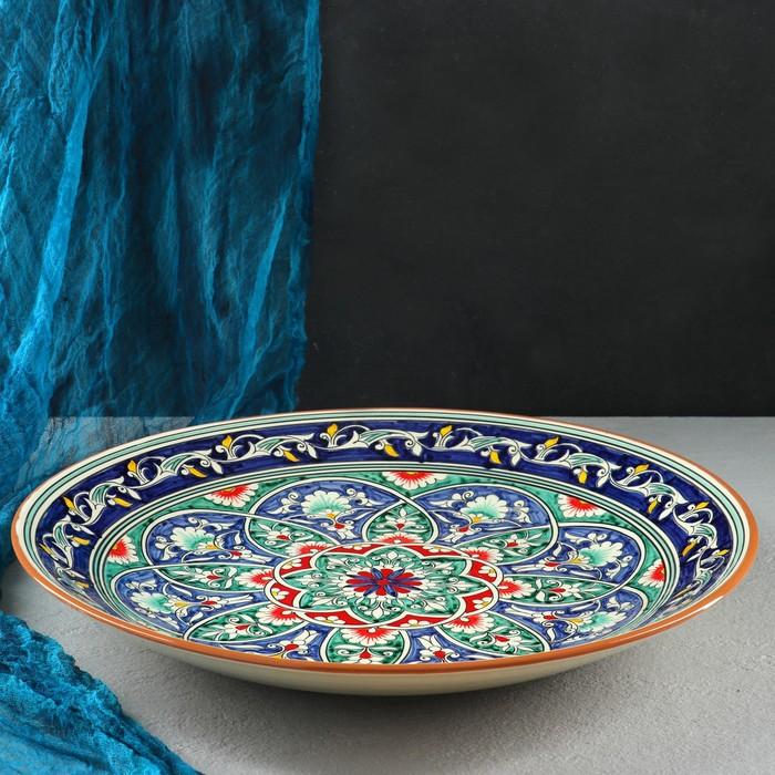 Ляган круглый «Риштан», 41 см, синий, в центре узор цветной