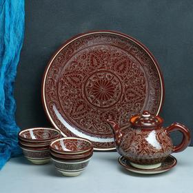 Набор чайный Риштанская Керамика, 9 предметов, коричневый: чайник 0.8 л, пиалы 0.3 л