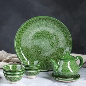 Набор чайный, риштанская роспись, 9 предметов, зелёный: чайник 0.8 л, пиалы 0.3 л