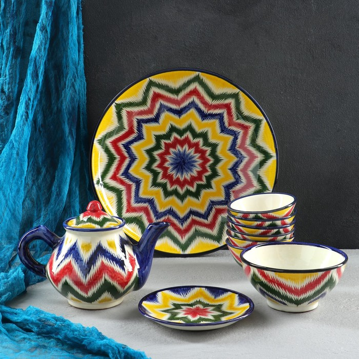 Набор чайный 10 предметов №2 (чайник 1 л, пиалы 0,5/0,3 л) микс - фото 1704755