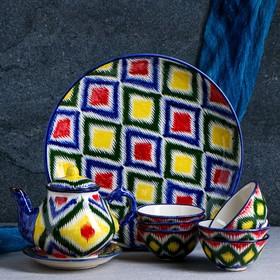 Набор чайный 10 предметов №1 (чайник 1 л, пиалы 0,5/0,3 л) микс