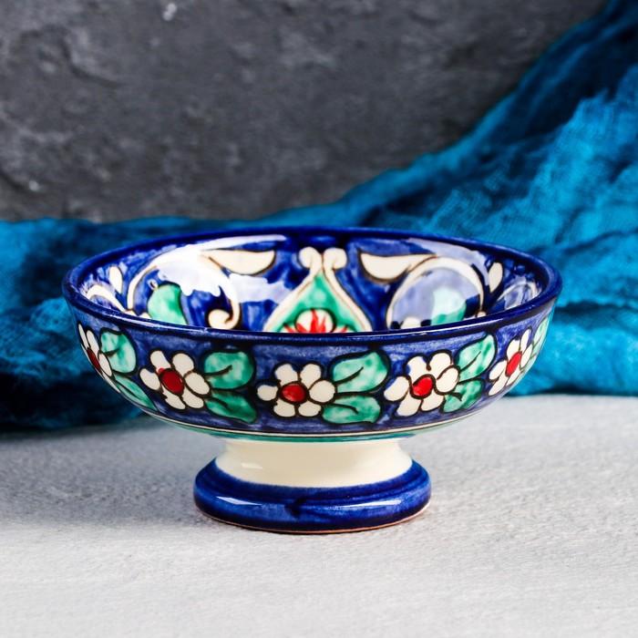 Конфетница Риштанская Керамика, 12см, синяя