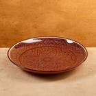 Ляган круглый, 31 см, риштанская роспись, коричневый - фото 235986