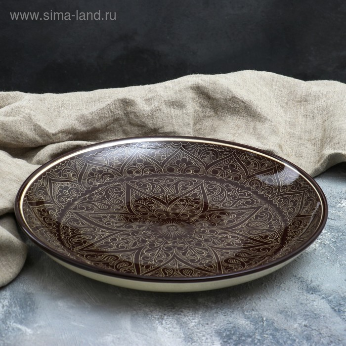 Ляган круглый, 31 см, риштанская роспись, коричневый