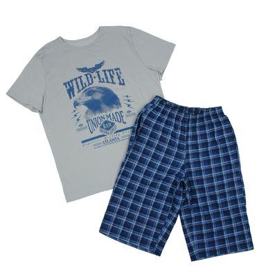 Комплект мужской (футболка, шорты), размер 50, цвет индиго (арт. 886/3)