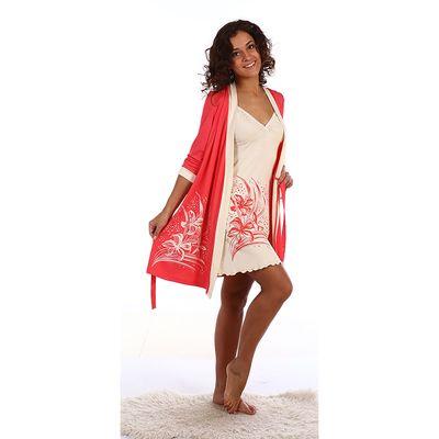 Комплект женский (сорочка, пеньюар) цвет коралловый, р-р 44 вискоза