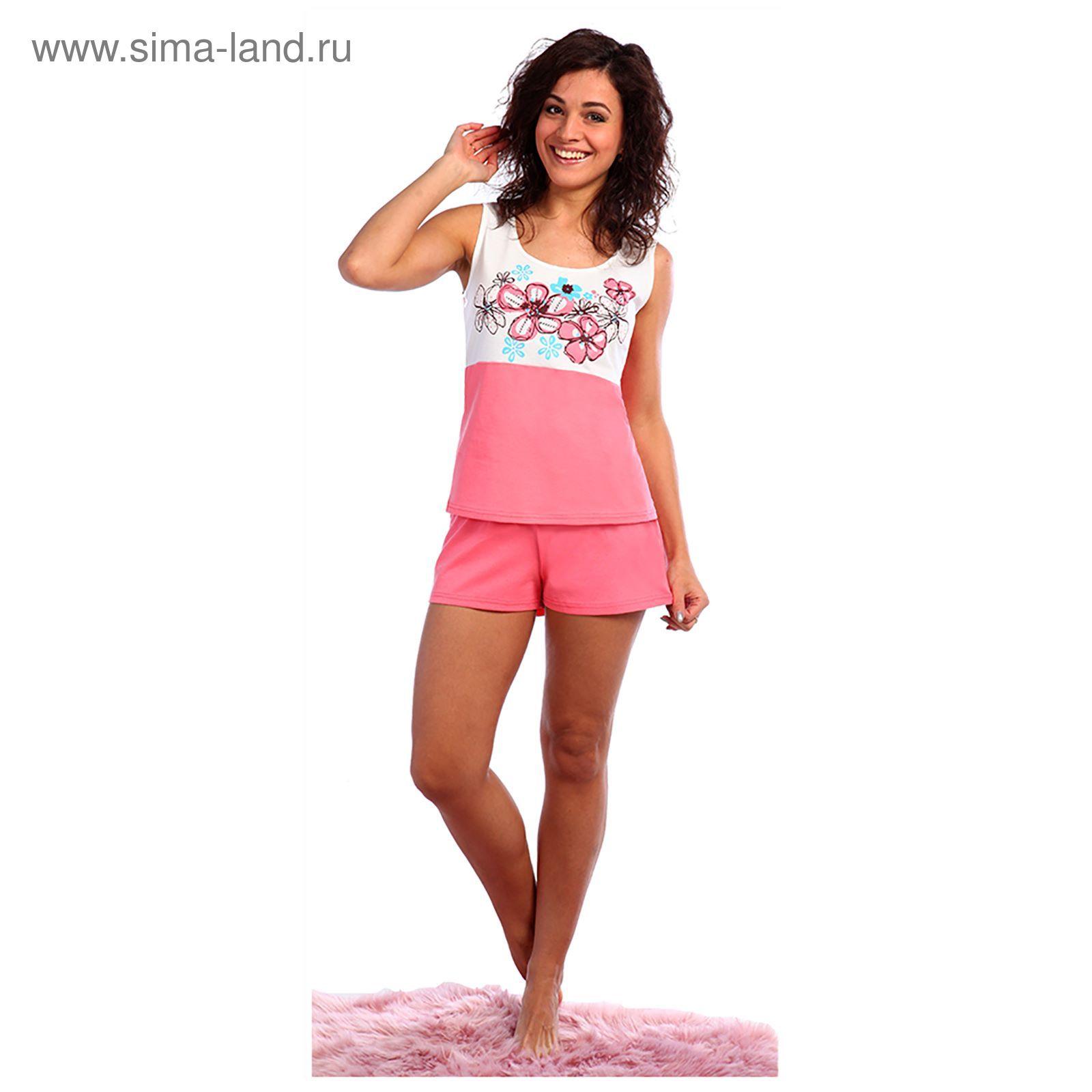 12783a15fa17842 Пижама женская (майка, шорты) Незабудка цвет коралловый, р-р 42 (943 ...