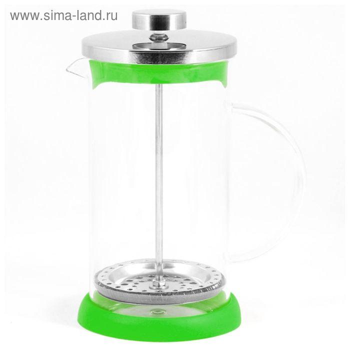 Френч-пресс Mallony стеклянный GFP01-350ML-G, цвет - зеленый