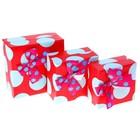 """Набор коробок 3в1 """"Горох крупный"""", цвет красный"""