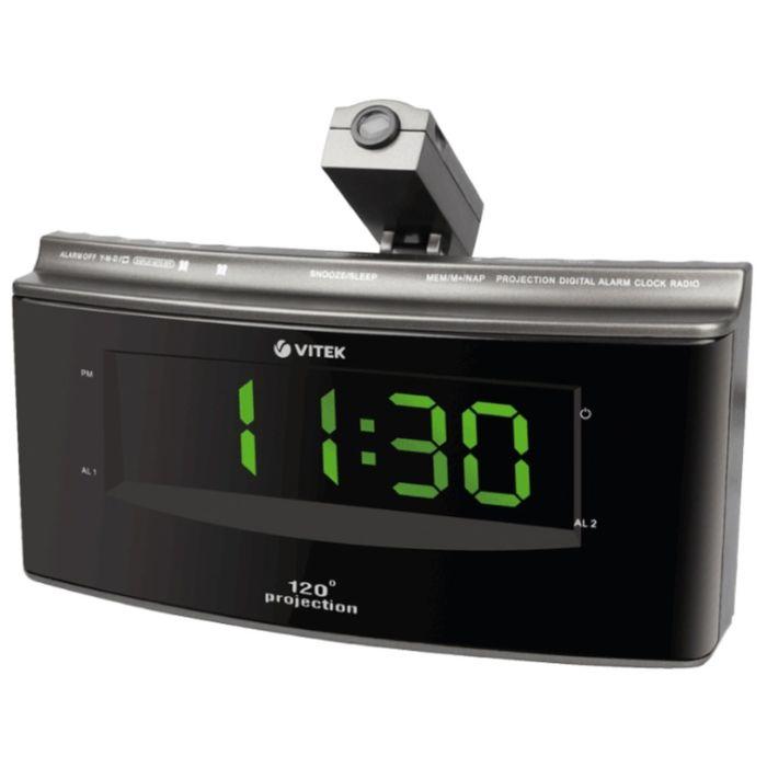 Радиобудильник Vitek VT-6607, FM, СВ, питание от сети,  проекция изображения, серый