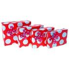"""Набор коробок 4в1 """"Крупный горошек"""", цвет красный"""