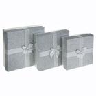"""Набор коробок 3в1 """"Блёстка"""", цвет серебро"""