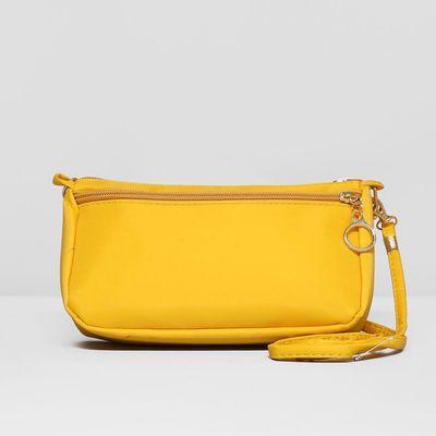 Сумка женская, отдел на молнии, наружный карман, с ручкой, длинный ремень, цвет жёлтый