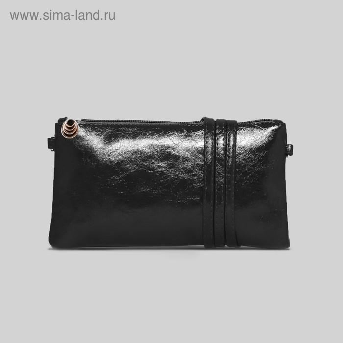 Клатч женский на молнии, 1 отдел, длинный ремень, цвет чёрный