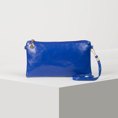 Women's clutch bag, division zipper, long strap, color blue