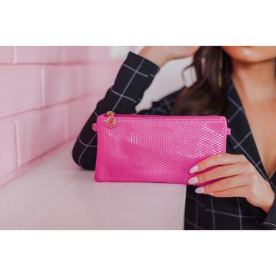 Women's clutch bag, Department, zip zip, long strap, color pink