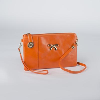 Women's clutch bag, 1 division with a divider, outside pocket, with handle, long strap, color orange